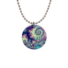 Violet Teal Sea Shells, Abstract Underwater Forest 1  Button Necklace