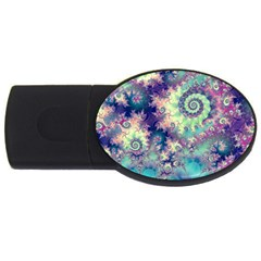 Violet Teal Sea Shells, Abstract Underwater Forest USB Flash Drive Oval (4 GB)