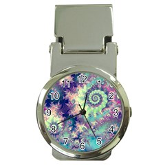 Violet Teal Sea Shells, Abstract Underwater Forest Money Clip Watch