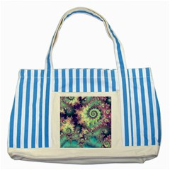 Violet Teal Sea Shells, Abstract Underwater Forest Striped Blue Tote Bag