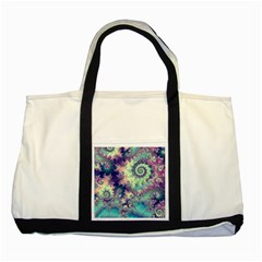 Violet Teal Sea Shells, Abstract Underwater Forest Two Tone Tote Bag