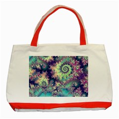Violet Teal Sea Shells, Abstract Underwater Forest Classic Tote Bag (Red)