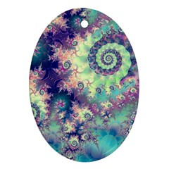 Violet Teal Sea Shells, Abstract Underwater Forest Oval Ornament (Two Sides)