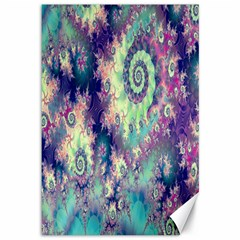 Violet Teal Sea Shells, Abstract Underwater Forest Canvas 12  x 18