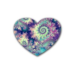 Violet Teal Sea Shells, Abstract Underwater Forest Rubber Coaster (heart)