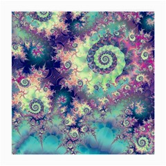 Violet Teal Sea Shells, Abstract Underwater Forest Glasses Cloth (Medium, Two Sides)