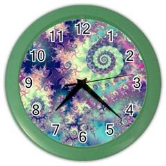 Violet Teal Sea Shells, Abstract Underwater Forest Color Wall Clock