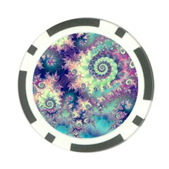 Violet Teal Sea Shells, Abstract Underwater Forest Poker Chip Card Guard