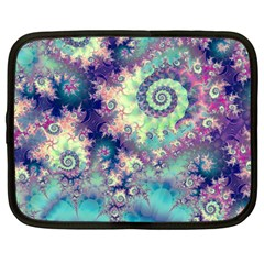 Violet Teal Sea Shells, Abstract Underwater Forest Netbook Case (large)