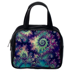 Violet Teal Sea Shells, Abstract Underwater Forest Classic Handbag (One Side)