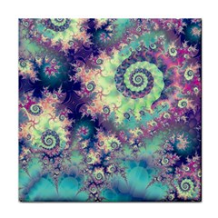 Violet Teal Sea Shells, Abstract Underwater Forest Face Towel