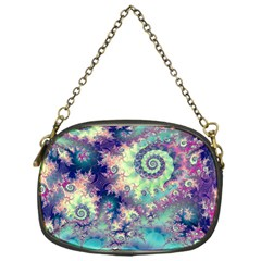 Violet Teal Sea Shells, Abstract Underwater Forest Chain Purse (One Side)
