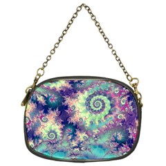 Violet Teal Sea Shells, Abstract Underwater Forest Chain Purse (two Sides)