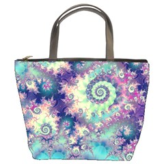 Violet Teal Sea Shells, Abstract Underwater Forest Bucket Bag