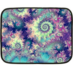 Violet Teal Sea Shells, Abstract Underwater Forest Mini Fleece Blanket(Two Sides)