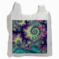 Violet Teal Sea Shells, Abstract Underwater Forest Recycle Bag (two Side)