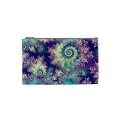 Violet Teal Sea Shells, Abstract Underwater Forest Cosmetic Bag (small)