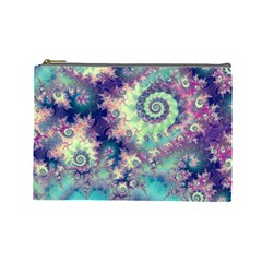 Violet Teal Sea Shells, Abstract Underwater Forest Cosmetic Bag (Large)