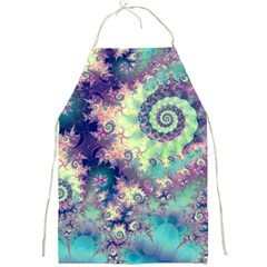 Violet Teal Sea Shells, Abstract Underwater Forest Full Print Apron