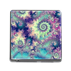 Violet Teal Sea Shells, Abstract Underwater Forest Memory Card Reader with Storage (Square)