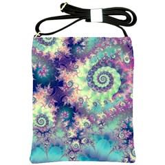 Violet Teal Sea Shells, Abstract Underwater Forest Shoulder Sling Bag