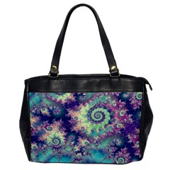Violet Teal Sea Shells, Abstract Underwater Forest Oversize Office Handbag (One Side)