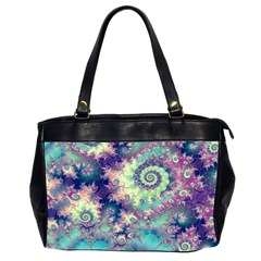 Violet Teal Sea Shells, Abstract Underwater Forest Oversize Office Handbag (Two Sides)