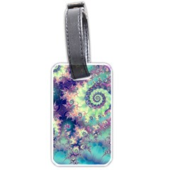 Violet Teal Sea Shells, Abstract Underwater Forest Luggage Tag (two sides)