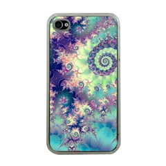 Violet Teal Sea Shells, Abstract Underwater Forest Apple Iphone 4 Case (clear)