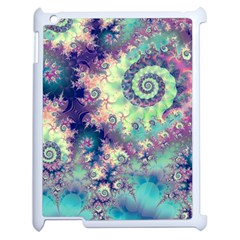 Violet Teal Sea Shells, Abstract Underwater Forest Apple iPad 2 Case (White)