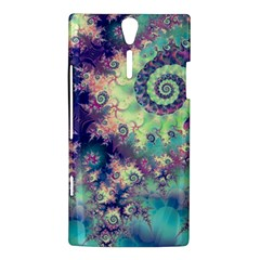 Violet Teal Sea Shells, Abstract Underwater Forest Sony Xperia S Hardshell Case