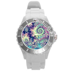 Violet Teal Sea Shells, Abstract Underwater Forest Round Plastic Sport Watch Large