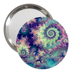Violet Teal Sea Shells, Abstract Underwater Forest 3  Handbag Mirror