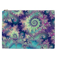 Violet Teal Sea Shells, Abstract Underwater Forest Cosmetic Bag (XXL)