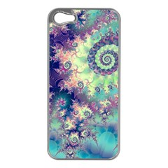 Violet Teal Sea Shells, Abstract Underwater Forest Apple iPhone 5 Case (Silver)