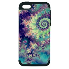 Violet Teal Sea Shells, Abstract Underwater Forest Apple Iphone 5 Hardshell Case (pc+silicone)