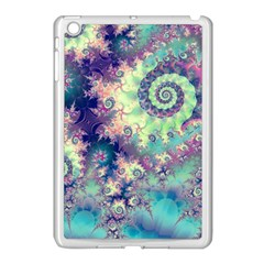 Violet Teal Sea Shells, Abstract Underwater Forest Apple iPad Mini Case (White)