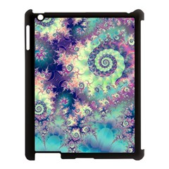 Violet Teal Sea Shells, Abstract Underwater Forest Apple iPad 3/4 Case (Black)