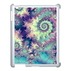 Violet Teal Sea Shells, Abstract Underwater Forest Apple iPad 3/4 Case (White)