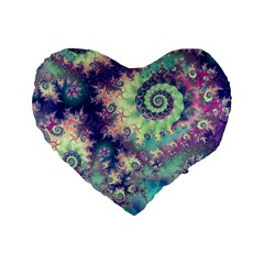 Violet Teal Sea Shells, Abstract Underwater Forest 16  Premium Heart Shape Cushion