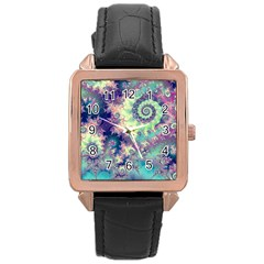 Violet Teal Sea Shells, Abstract Underwater Forest Rose Gold Leather Watch