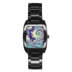 Violet Teal Sea Shells, Abstract Underwater Forest Men s Stainless Steel Barrel Analog Watch