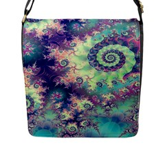 Violet Teal Sea Shells, Abstract Underwater Forest Flap Closure Messenger Bag (Large)