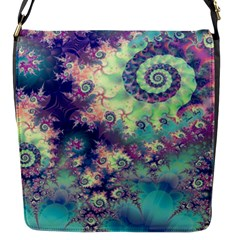 Violet Teal Sea Shells, Abstract Underwater Forest Flap closure messenger bag (Small)