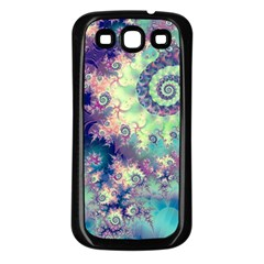 Violet Teal Sea Shells, Abstract Underwater Forest Samsung Galaxy S3 Back Case (Black)