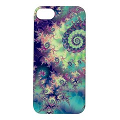 Violet Teal Sea Shells, Abstract Underwater Forest Apple iPhone 5S Hardshell Case