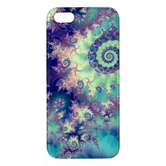 Violet Teal Sea Shells, Abstract Underwater Forest iPhone 5S Premium Hardshell Case