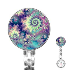 Violet Teal Sea Shells, Abstract Underwater Forest Stainless Steel Nurses Watch
