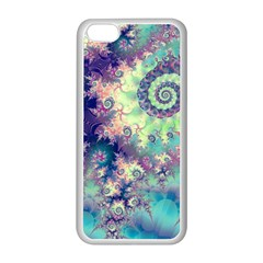 Violet Teal Sea Shells, Abstract Underwater Forest Apple iPhone 5C Seamless Case (White)
