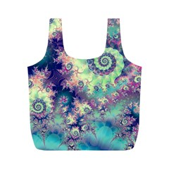 Violet Teal Sea Shells, Abstract Underwater Forest Full Print Recycle Bag (m)